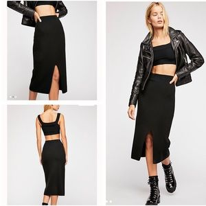 FREE PEOPLE SKYLINE MIDI SKIRT LARGE